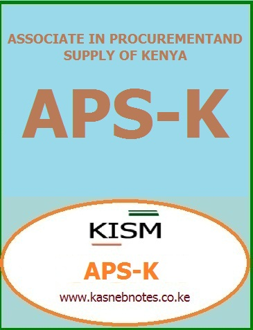 APS-K notes LEVEL I, Principles of Procurement and Supply, Supply Markets, Introduction to Business Law, Supply Chain Management, Entrepreneurship and Business Ethics, APS-K notes LEVEL II, Stores and Distribution, Procurement and Supply Relationships, Contract Administration, Quantitative Skills, Communication and Office Management, KISM APS-K notes