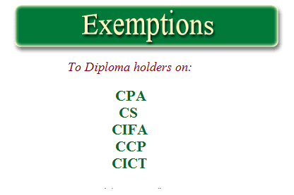 DIPLOMA EXEMPTIONS KASNEB COURSES