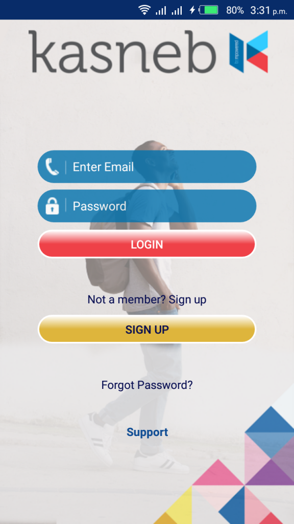 Log in to your account entering your email address and password - www.kasnebnotes.co.ke